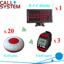 Restaurant Coffee Bar Wireless Call Calling System 3 server watch 20 table buzzer 1 wall displayer(China)