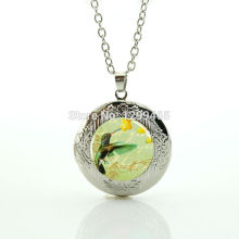 Art bird glass cabochon locket pendant hot sale amazing fashion alloy silver jewelry hummingbird  leisure series essential N1002