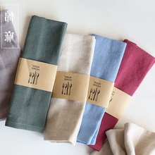 High-quality Plain Cotton Linen Table Napkins Tea Towels Good Water Absorption Home Kitchen Cloth(China)