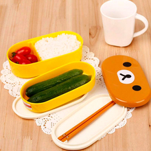 High Quality 1 Set Plastic Bento Lunchbox Brown Color Cutlery Set Microwave Rilakkuma Bento Multilayer Children Bento Box(China)