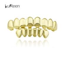 Лорин золото зубы grillz верхней и нижней грили хип-хоп зуб grillz Стоматологическая Хэллоуин вампир Cosply зубы Caps Jewelry LD0041(China)