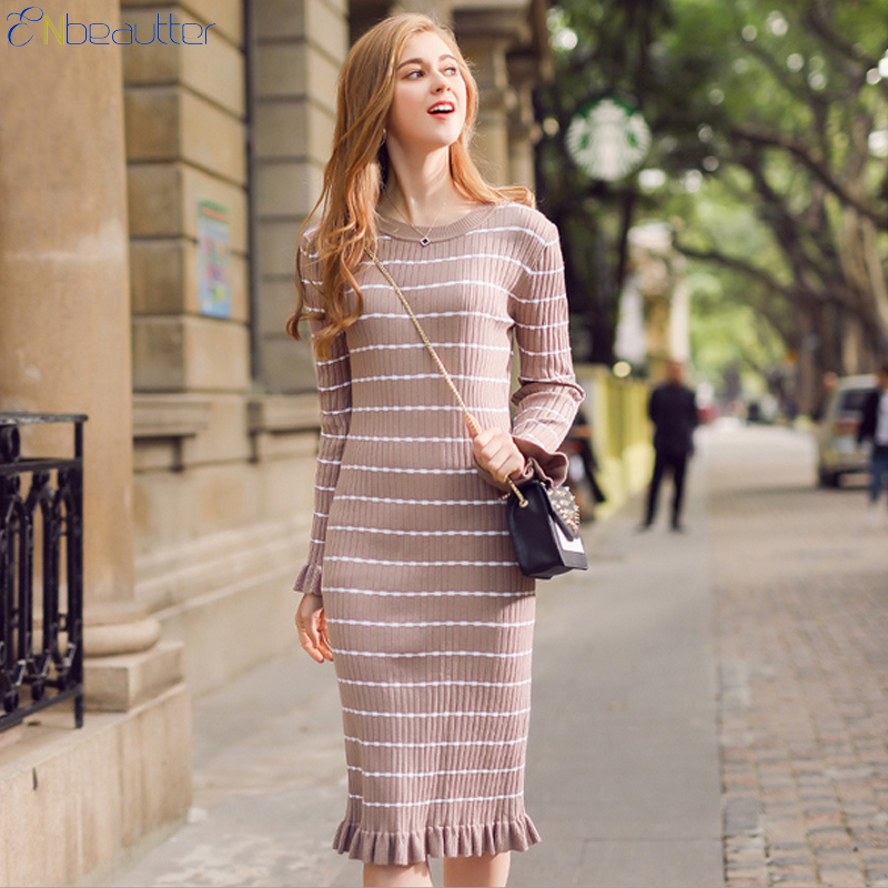 ENbeautter Spring Winter Female\'s Knitting Dress S...