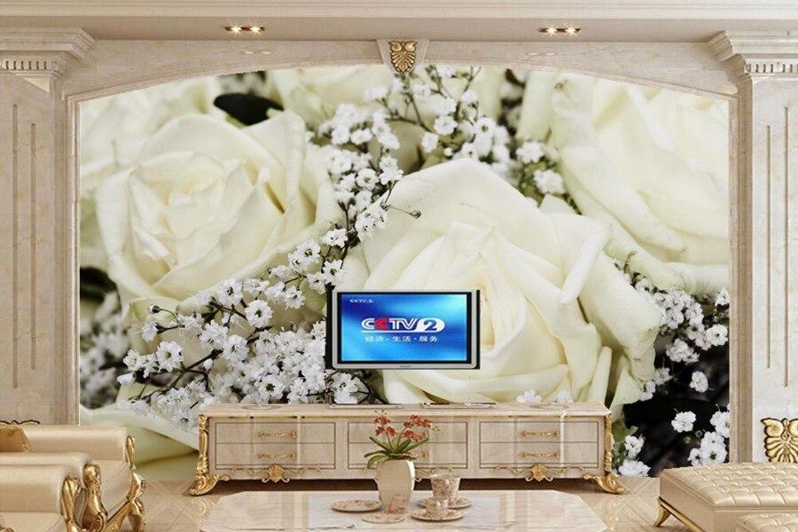 Custom wall paper murals papel de parede,Roses White Flowers wallpaper,coffee shop hotel living room tv sofa wall bedroom murals<br>
