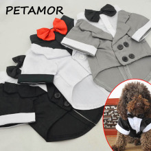 PETAMOR Dog Wedding Suit Formal Pet Clothes Puppy Shirt Dog Wedding Tuxedo With Bow Tie Pet Apparel Clothing For Dogs Coat PC28(China)