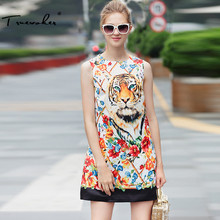 Truevoker Designer Summer Dress Women's Sleeveless Elegant Fancy Flower Animal Printed Boutique Dress