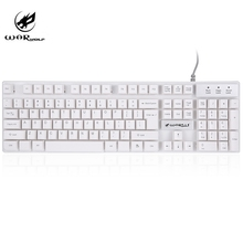Warwolf K1 LED Backlit Computer Keyboards USB Wired Waterproof English Version Gaming Fingerboard for PC Combine with FN key