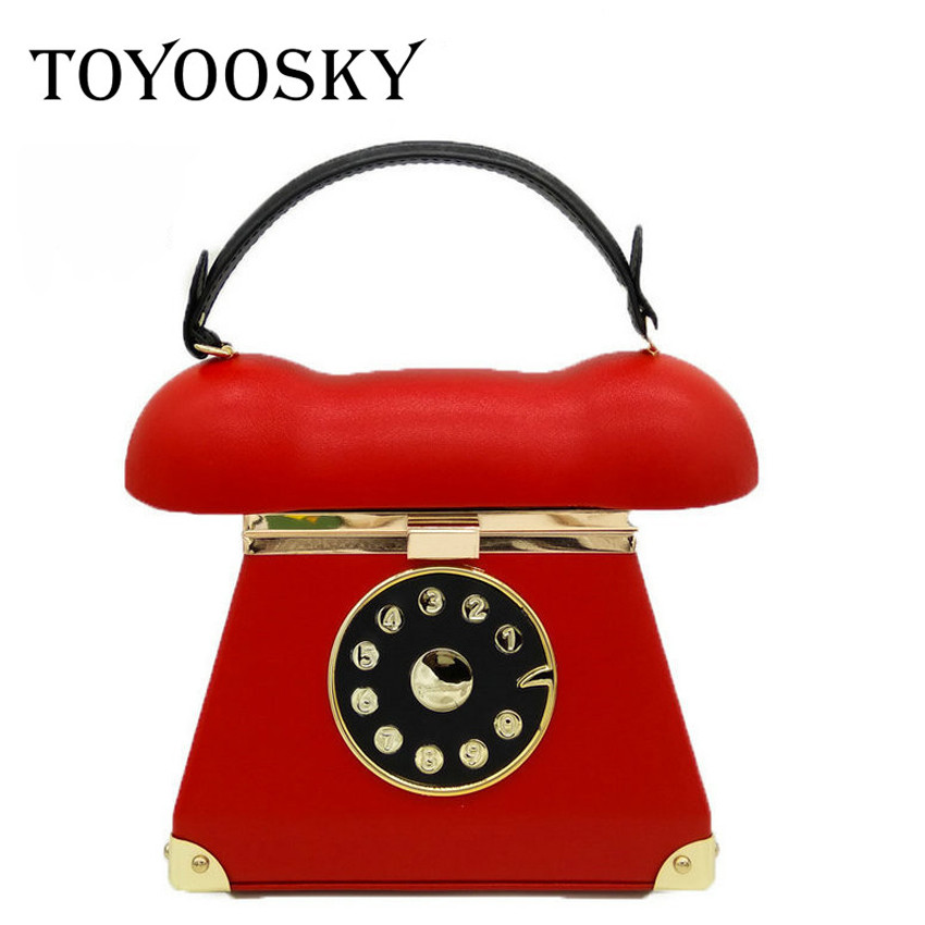 TOYOOSKY Funny Personality Phone Shape Handbag Ladies Pu Leather Chain Shoulder Bag Flap Crossbody Messenger Bag Evening Bags<br>