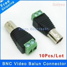 10pcs Cat5 to BNC Female Connector Coax for CCTV Camera BNC UTP Video Balun Connector Adapter BNC Plug For CCTV System(China)