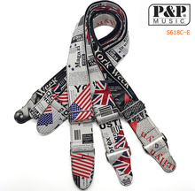 Acoustic Guitar Strap Electric Classic Guitar Belt Bass Accessories Printed News Paper With UK and USA National Flag(China)