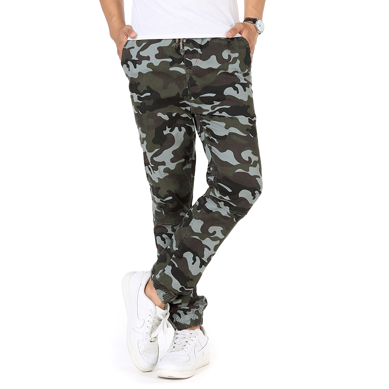 Man Casual Camouflage Jogger Pants Lacing Up Draw Cord Elastic Waist Trouser Men Ankle-length Ninth Pants Yellow Gray Army Green