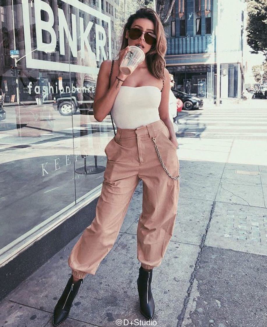 Winter Harajuku High Waist Cargo Pants Women Elastic Harem Pants Zipper Punk Hip Hop Trousers Cotton Sweatpants Streetwear (Us 6-14)