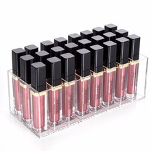Lip Gloss Holder Organizer 24 Spaces Clear Acrylic lipstick organizer Makeup Lip gloss Display stand Case(China)