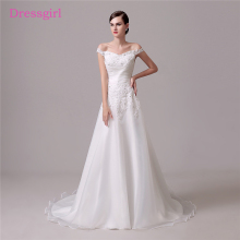 Buy Backless Vestido De Noiva 2018 Wedding Dresses A-line V-neck Shoulder Lace Beaded Boho Cheap Wedding Gown Bridal Dresses for $98.28 in AliExpress store