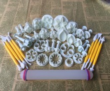 39PCS/SET Many Kinds,Rolling Pin Flowers,Leaves Shape  Food Grade Plastic Cake Tools,Cookie Cutter,Fondant Cake Decorating