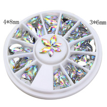 EWTU014012 New Fashion 3D AB White Color Crystal Horse Eyes Gem Glitters Rhinestones DIY Nail Art Tips Decoration Manicure Wheel(China)