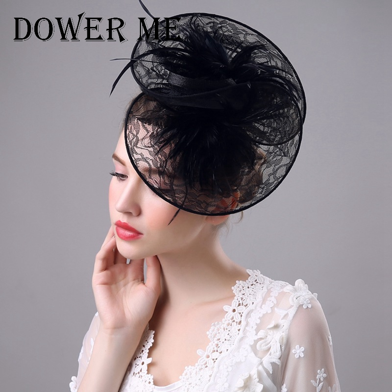 dower me Fascinator Hat Flower Hair feather Headband Headwear Fashion Dress Derby Church Wedding Evening Party hat HN45(China (Mainland))