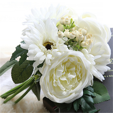 The Bouquet mixed Peony and Gerber Artificial Flower Bouquet Flowers Floral Wedding Party Decoration(China)
