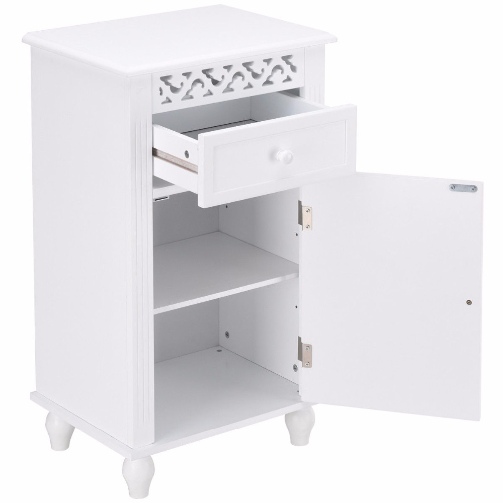 Giantex Storage Floor Cabinet Bathroom Organizer Floor Cabinet Drawer Kitchen White Modern Bathroom Furniture HW57018 8