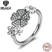 925 Sterling Silver Shimmering Bouquet White Enamel Clear CZ Flower Finger Rings for Women Jewelry WEU7176(China)