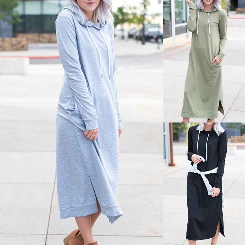 Womens Long Sleeve Hooded Sweatshirt Dress Ladies Solid Loose Casual Party Dress