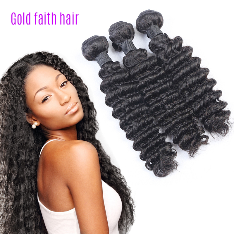 Natural Color 3pcs Deep Wave With Closure, Curly Brazilian Human Human Hair Weave Bundles ,7A Virgin Weft Extension Black Women<br><br>Aliexpress