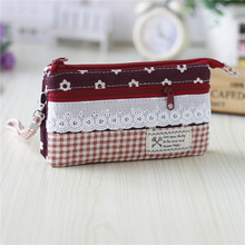 Cotton women's plaid lace long lace wallets coin purses phone bags money pouches carteiras femininas bolsos mujeres for girls(China)