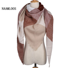 2017 Fashion Brand Designer Triangle Scarf Women Cashmere Pink Shawl Cape Blanket Plaid Foulard Wholesale Drop shipping(China)