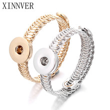 Gold Silver 2 Colors Direct Selling Sterling Jewellery Bracelet For Woman Snap Button Jewelry (Fit 18mm 20mm snap) ZE053(China)