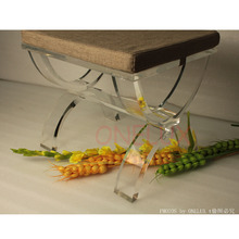 Cross Legged Acrylic Lucite vanity stool ottomans bench - perfect as a stool or a side tea table