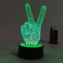 Victory fingers of 3 d lamp The bedroom the head of a bed lamp Small night lights gift lights Students can send family  friend
