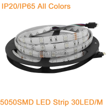 12V 5M 5050 LED Strip Light 30LED/M 150LEDs IP20 IP65 Waterproof Flexible Tape, White/Warm white/Blue/Green/Red/Yellow/RGB Color