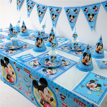 Disney Mickey Mouse Kids Birthday Party Decoration Set Party Supplies cup plate banner hat straw loot bag fork(China)