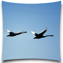 Two birds Fly to the distance 2D print creative Pillow case Square cotton polyester cushion cover 5 size 9 style(China)