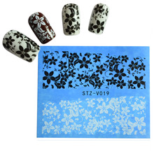 1pcs Hot Elegant Women Nail Art Black/White Flower DIY Nails Tips Decals Sticker Nail Art Decorations Styling Tools TRSTZV019(China)