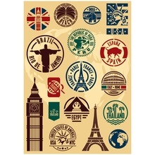 17x Sticker Famous Scenery Logo A4 Size Phone iPad Tablet Laptop Luggage Skateboard Bicycle Motorcycle Auto Car Styling Decal(China)