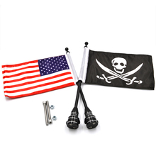 BJMOTO Motorcycle Rear Side Mount Flag Pole America Flag For Harley Sportster XL 883 1200 Luggage Rack