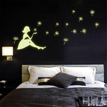 Luminous Wall Stickers Dandelion Girl luminous Stickers Living Room Bedroom Decoration Wallpaper Home Decor Wall Decals D9