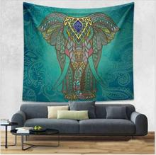 Enipate Indian Elephant Tapestry Aubusson Colored Printed Decor Mandala Tapestry Religious Boho Wall Carpet Living Room Blanket(China)