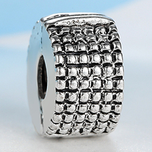 NBSAMENG 2017 New European Clips Locks Beads Charms Silver Plated Stopper Bead Grid Fit Pandora Bracelets & Bangles DIY Jewelry