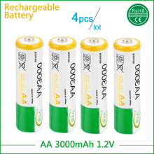 4pcs 3000mAh AA Battery NI-MH 1.2V Rechargeable 2A Baterias with Over-current Protection forDigital camera head lamp toys MP4(China)