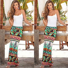 Europe And United States Womens Summer Boho Long Maxi Skirts Party Print Beach Sun Pencil Skirt