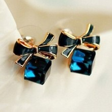 Austria Exquisite Crystal Blue Water Cube Box Cube Stone Bow Couple Earrings Jewelry Wholesale Earrings For Women Oorbellen
