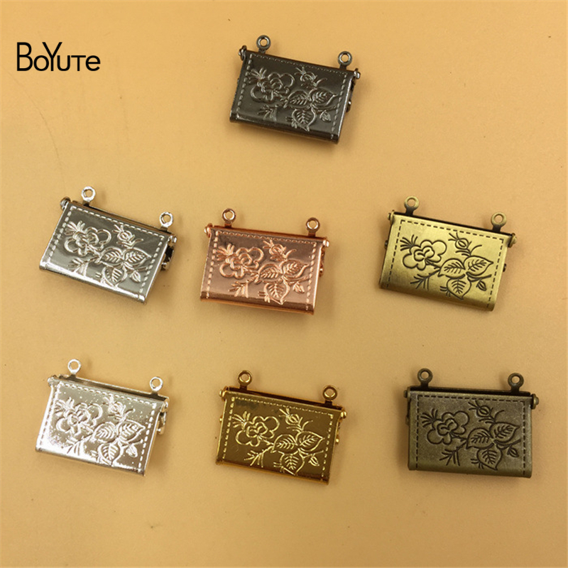 BoYuTe 10 Pieces 1520MM Envelope Locket Floating Memory Photo Locket Pendant Charms for Jewelry Making (1)