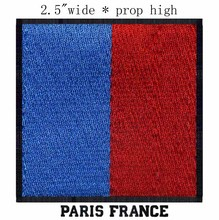"Paris, France Flag 2.5"" wide embroidery patch free shipping for embroidered motorcycle patches/patch soccer"