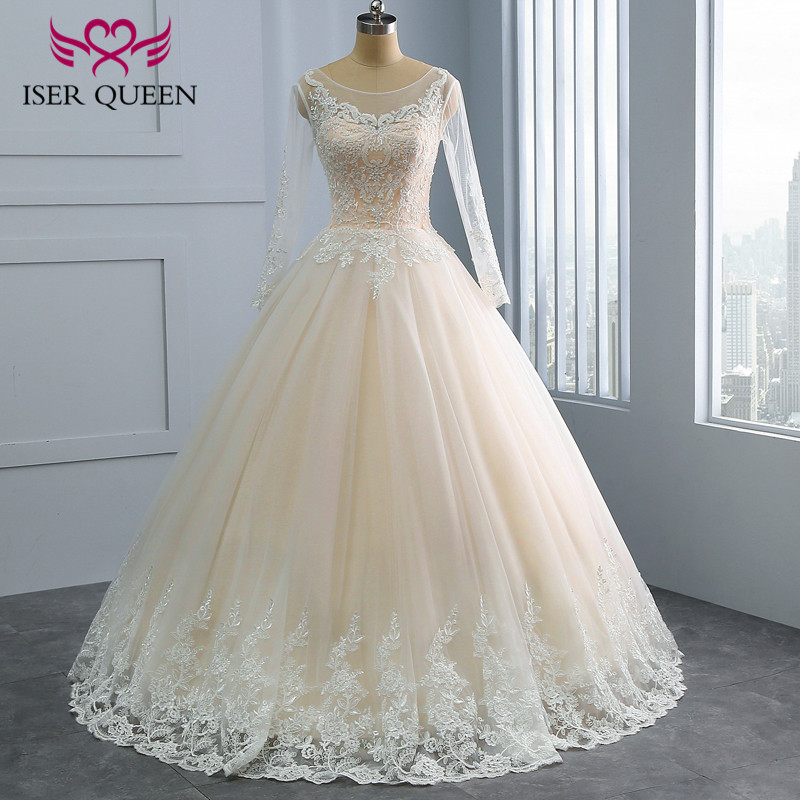 Full Sleeve Quality Ball Gown Wedding Dress 2019 New Design Champagne Beautiful Beading Embroidery Lace Wedding Dresses WX0105