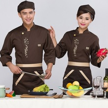 New Fashion Hotel Restaurant Kitchen Chef Costume for Men Women Cook Uniform Costume Coat Long Sleeve Jacket White Black Coffee(China)