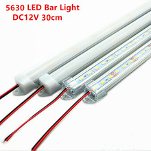 2pcs/3pcs 30cm 5630 5730 DC12V hard rigid bar strip with U aluminum profile shell channel housing cabinet light kitchen light