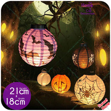 4 Pc Halloween Decoration LED Paper Lantern Pumpkin Spider Bat Light 7 Pictures Hanging Lamp Props Home Bar Outdoor Party Supply