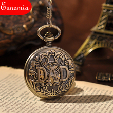 Great Dad Great Love Father Luxury Gift Pocket Watch Mechanical Hand Winding Key Chain Vintage Steampunk Skeleton Pocket Watch