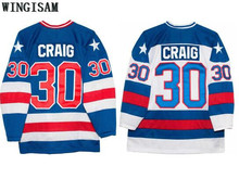 WINGISAM 1980 Miracle On Ice Team USA Jim Craig 30 Vintage Ice Hockey Jersey Winter Sport Wear Wholesale Dropship Blue White